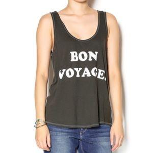 Wildfox Bon Voyage travel graphic soft tank top S